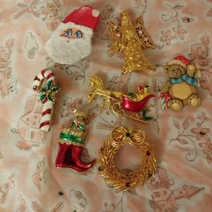 Vintage Christmas Pins Jewelry Lot